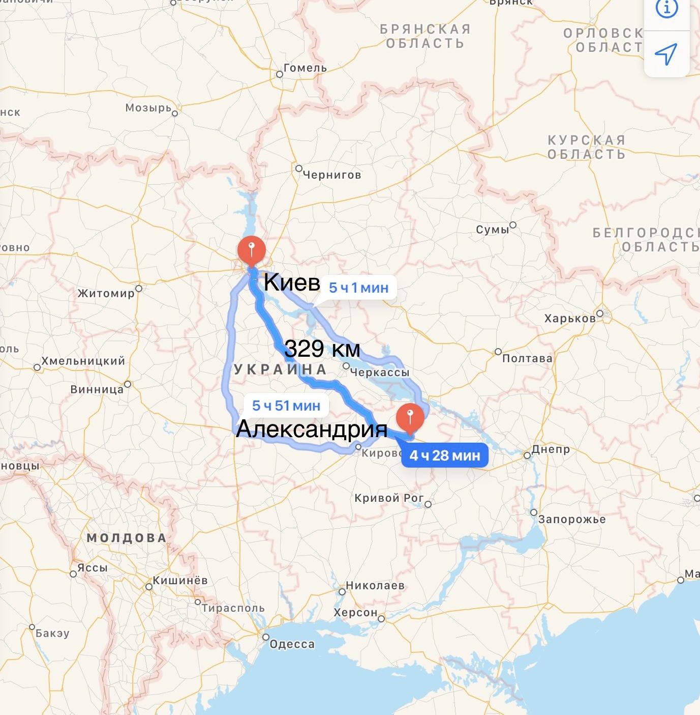 Грузоперевозки Киев – Александрия