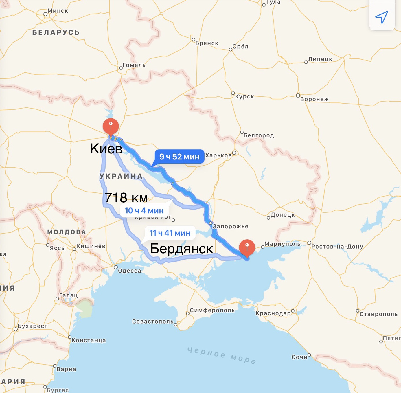 Грузоперевозки Киев – Бердянск