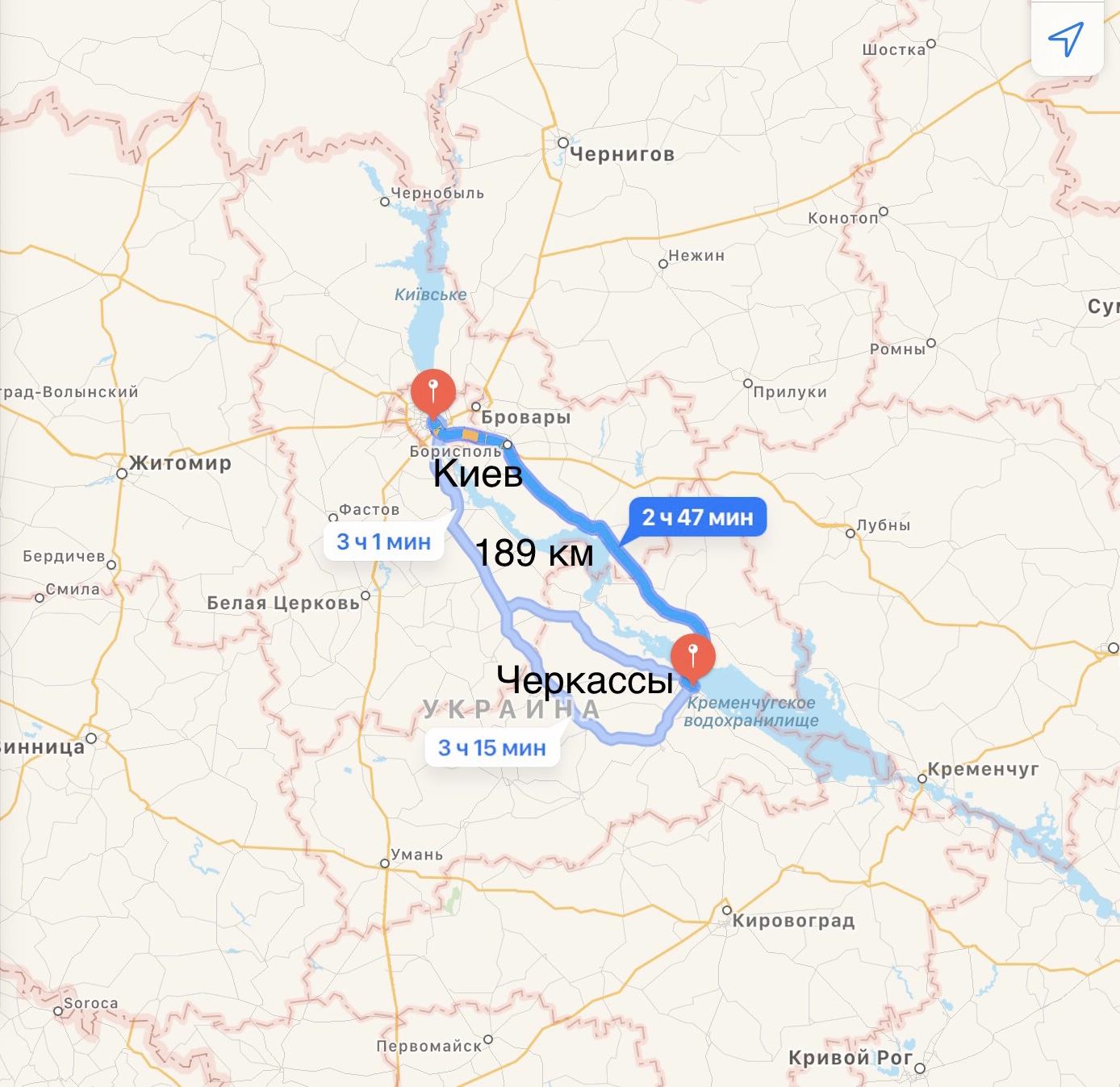 Грузоперевозки Киев – Черкассы