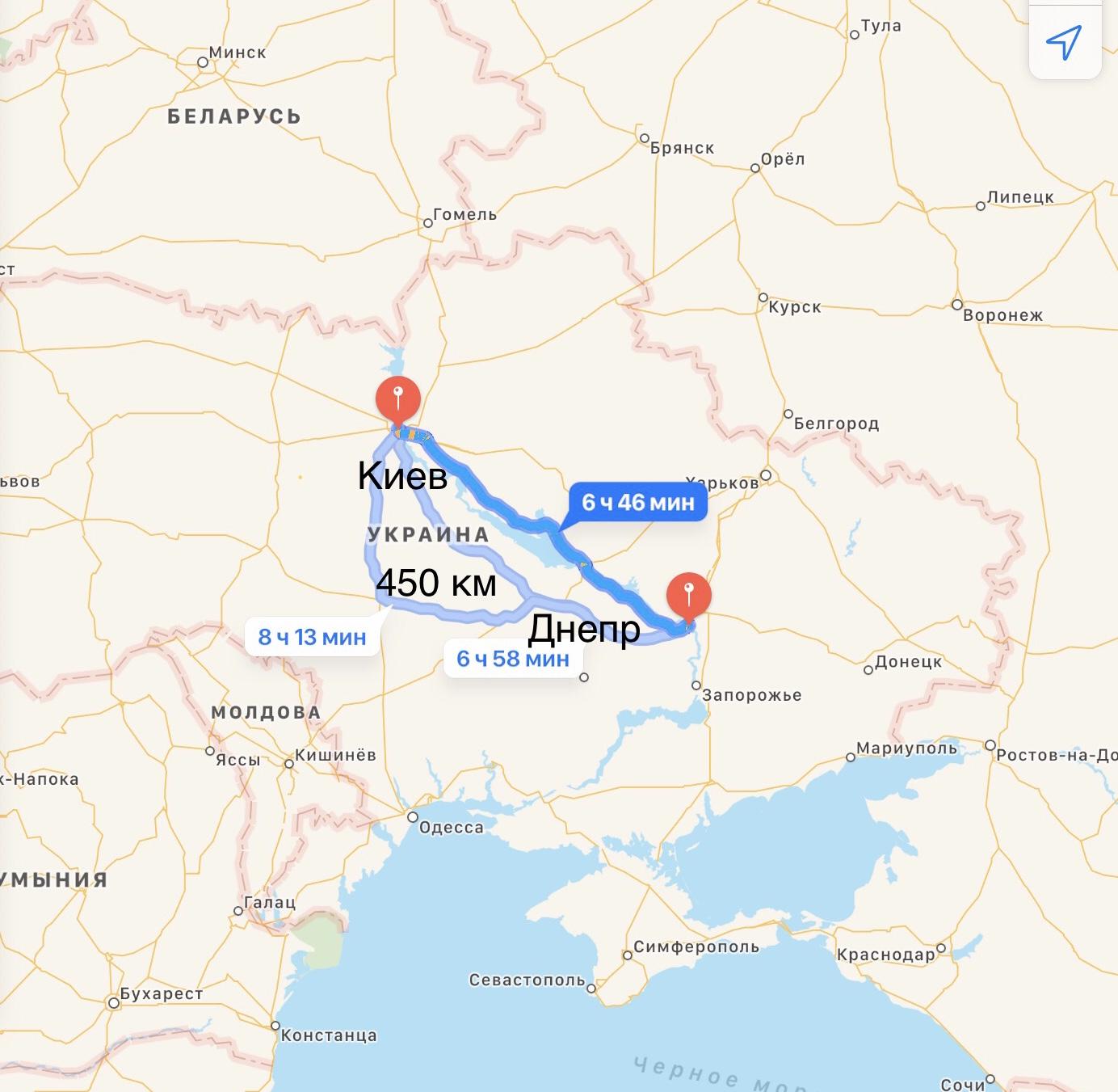 Грузоперевозки Киев – Днепр