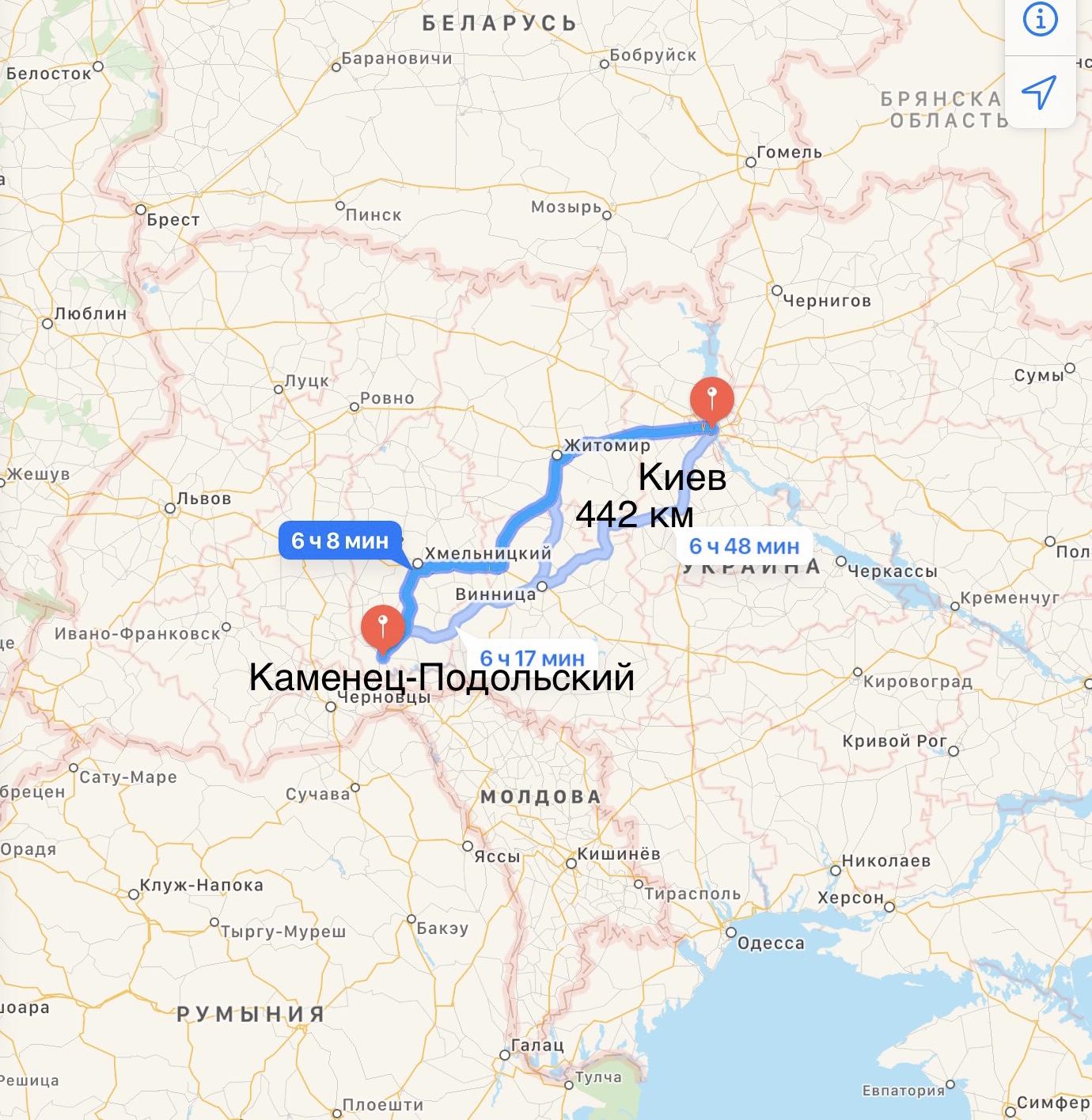 Грузоперевозки Киев – Каменец-Подольский