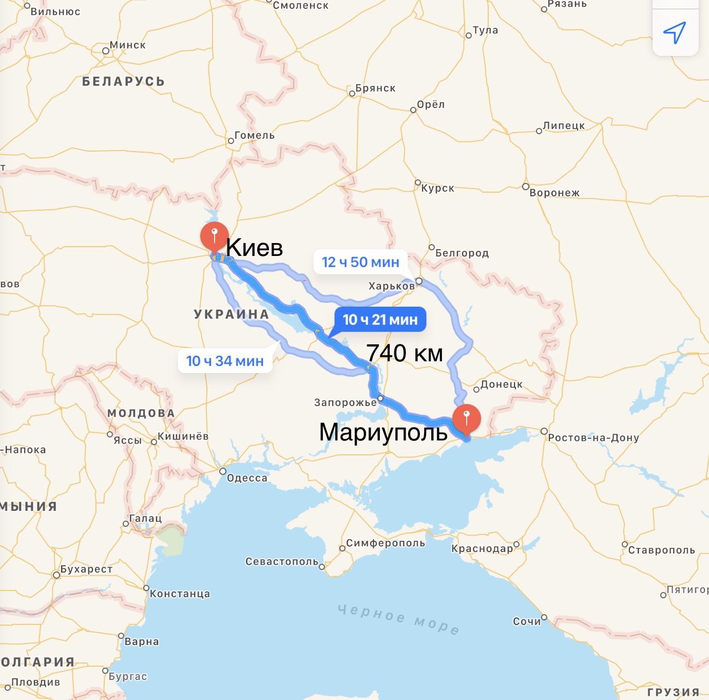Грузоперевозки Киев – Мариуполь