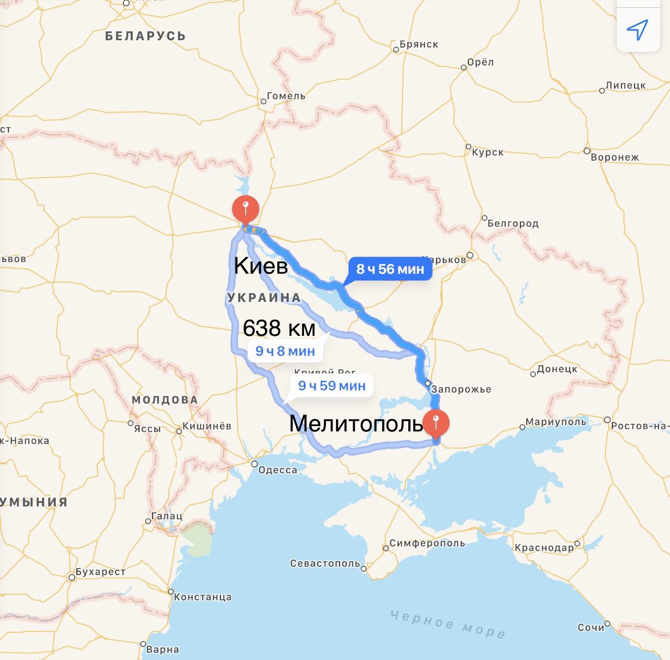 Грузоперевозки Киев – Мелитополь