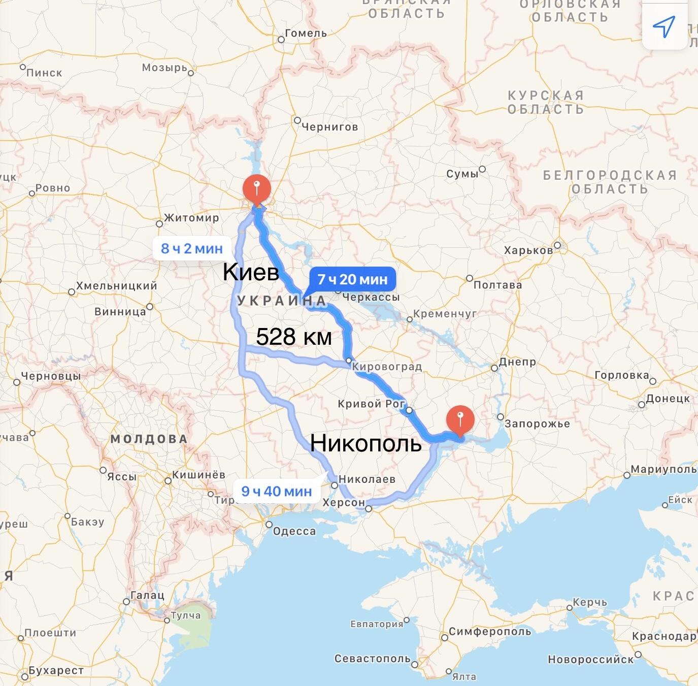 Грузоперевозки Киев – Никополь