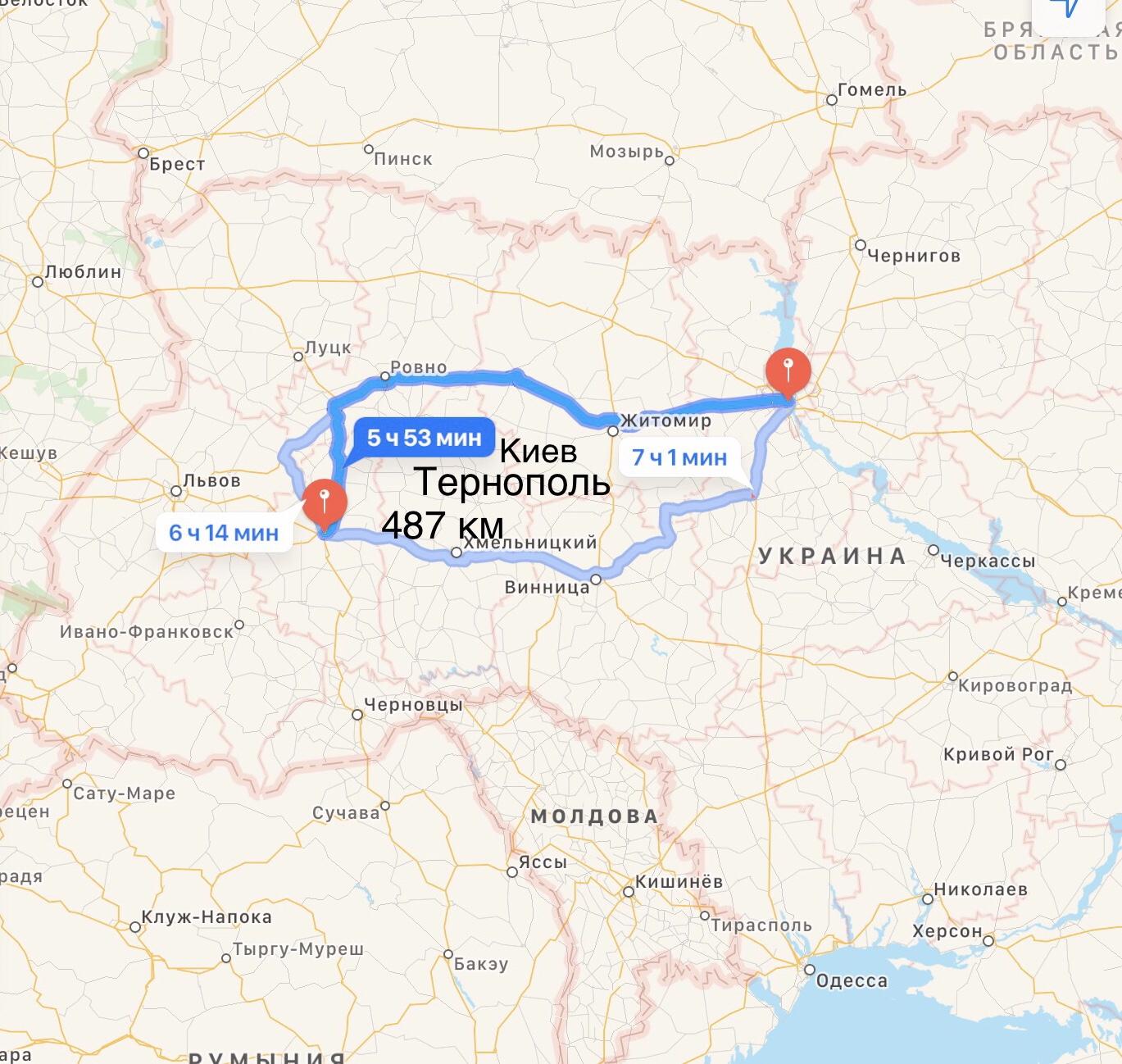 Грузоперевозки Киев – Тернополь