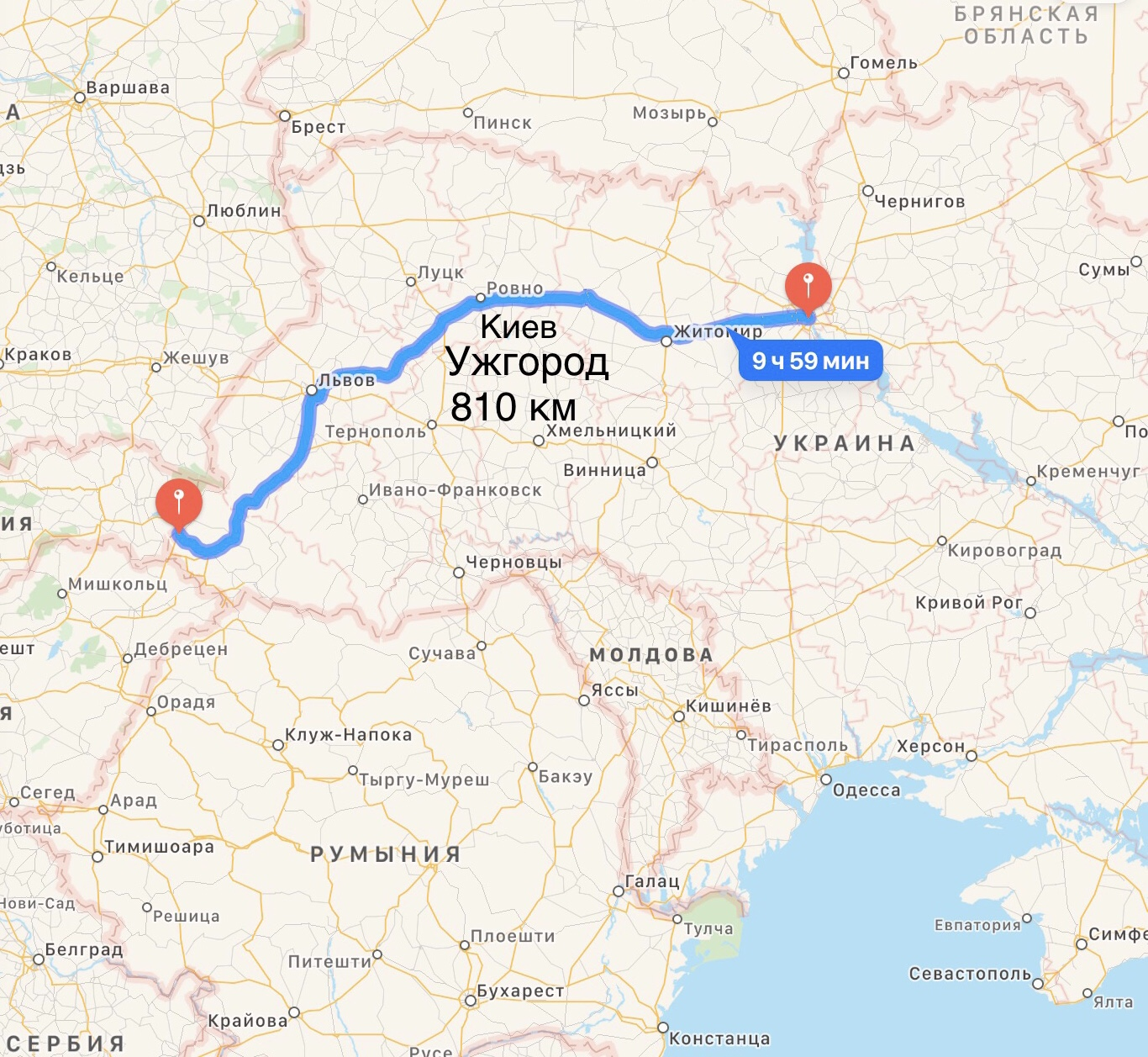 Грузоперевозки Киев – Ужгород